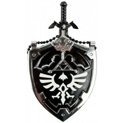 Mini DARK Hylian Shield Links Master Sword Legend of Zelda Necklace Knife Black