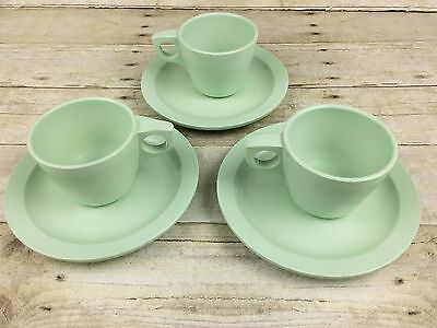 Vintage Boonton Ware 3 cups and saucers. Jadeite color Retro Kitchen