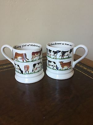 2 Emma Bridgewater WAITROSE COWS Half Pint Mugs- New & 1st