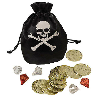 PIRATE COIN & POUCH SET includes 12 COINS & ASSORTED GEMS