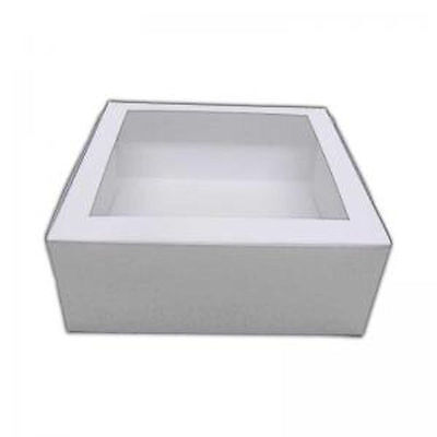 """10"""" White Window Cake Box 5 pack, option to buy with round cake boards"""