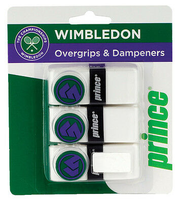 Prince Wimbledon Tennis Overgrip 3 Pack + 3 String Vibration Dampeners Fun Pack