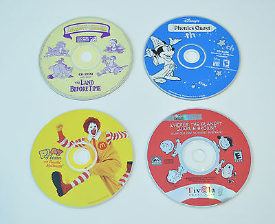Lot of 4 Kids Software PC Peanuts Phonics Quest Ronald McDonald Land Before Time