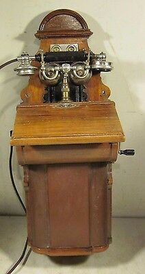 Antique 1911 Ornate L.M. Ericsson Wood Case Exposed Bells Wall Crank Telephone