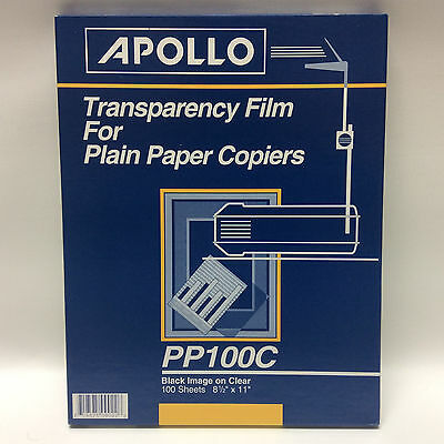 Apollo Transparency Film For Plain Paper Copiers - Black On Clear - PP100C