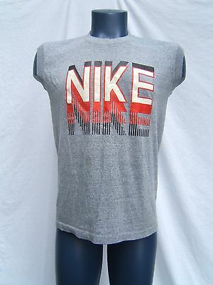 Vtg 80s NIKE Swoosh Blue Tag Block Graphics Tri-Blend Sleeveless T-Shirt Mens L