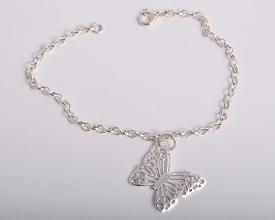 Sterling Silver Filigree Butterfly Charm Ankle Chain Bracelet Anklet 925