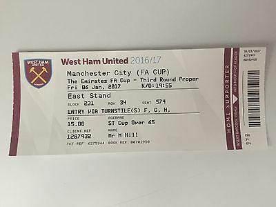 USED FA CUP 3rd ROUND TICKET WEST HAM v MANCHESTER CITY 6th JANUARY 2017