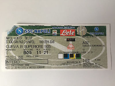 USED TM CUP TICKET NAPOLI v INTER MILAN 19th JANUARY 2016