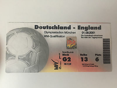 USED TICKET WORLD CUP 2002 QUALIFIER GERMANY 1 ENGLAND 5, 1st SEPT 2001 MUNICH