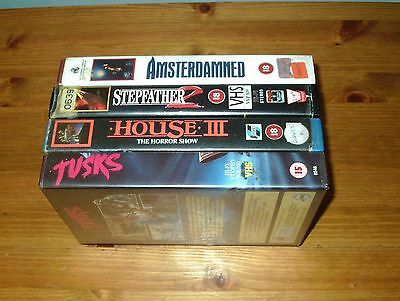 4 x Ex-Rental 80's Horror Big Box VHS Videos - Vestron / Pre-Cert Interest