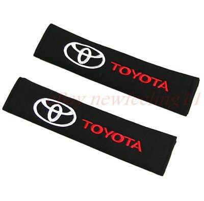 2pcs Black Car Logo safety Belt Shoulder Pads Seat Covers Cushion For Toyota