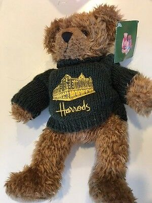 Harrods New With Tags Brown Teddy Bear Green Sweater Plush Stuffed Toy 14""