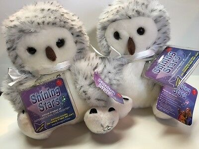"""Two Russ Shining Stars Plush Snowy Owl, new w tags adorble 8"""""""