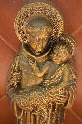 Old Rare French St Christopher Wall Plaque Bronzed Metal