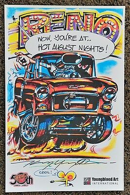 50Th Kenny Youngblood Signed Reno Hot August Nights Drag Racing Cartoon Print