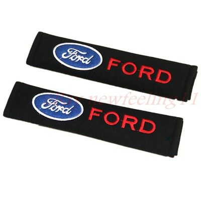 2pcs Black Car Logo safety Belt Shoulder Pads Seat Covers Cushion For Ford