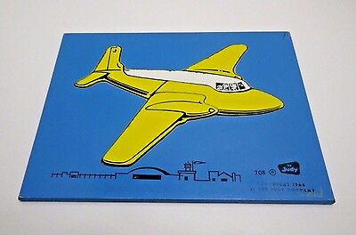 1966 Wood Puzzle #208 Flying Yellow Airplane by Judy Company (5 Piece)