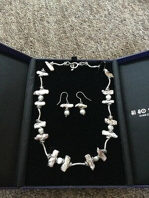 Hi Ho Silver Hallmarked 925 Mother Of Pearl Solid T Bar Necklace &'Earrings Set