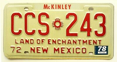 New Mexico 1972 1978 McKinley County License Plate, CCS 243, Zia Indian Sun Sign