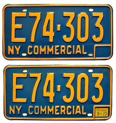 New York 1966-1973 Commercial License Plate Pair DMV Clear Classic Pick-Up Truck