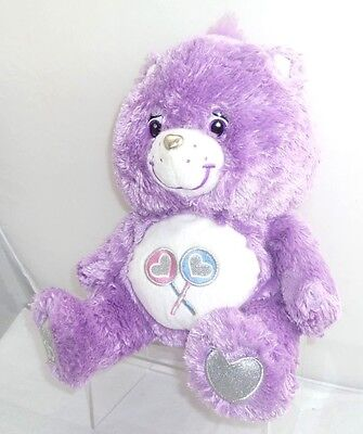 "Care Bears Plush Share Bear & Swarovski Crystal & Silver Heart 13"" Tall"