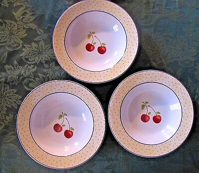 """Cherries Jubilee"" 3 LARGE RIM SOUP  BOWLS (2 cups liquid) Noble Excellence  NEW"