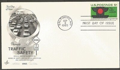 Us Fdc 1965 Stop Traffic Accidents 5C Stamp Ac First Day Of Issue Cover