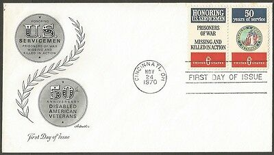 Us Fdc 1970 Us Servicemen-Disabled American Veterans 6C-Pair First Day Of Issue