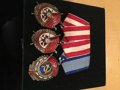 Soviet Union Set Of 3 Orders: 2 Of Red Banner + 1 Labor Red Banner