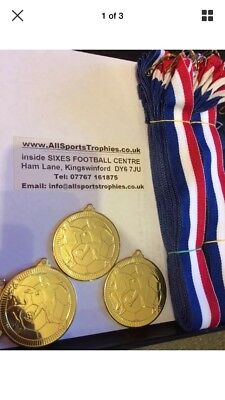 50 x Metal Football Medals & Ribbons. Silver FREE ENGRAVING Birthday Party Medal
