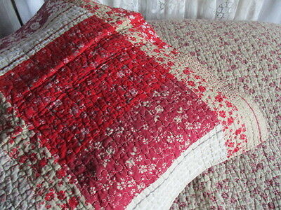 Vintage French Boutis Quilt & lge pillow-sham. Pinks Reds Coffee 183 x 229cm