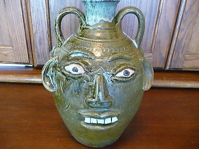 Incredible Double Face-Double Handle Walter Fleming Face Jug-Catawba Valley NC