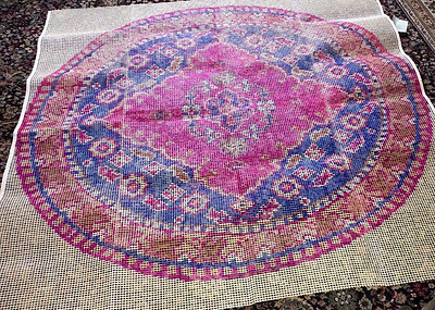 "Huge Vintage Shillcraft Circular "" Nain "" Latch Hook Rug Wall Canvas 60"" X 60"""