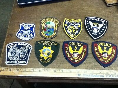 Vintage Police Patches Lot of 8 Nice Variety SC Highway Patrol Fla. Ohio Nev.