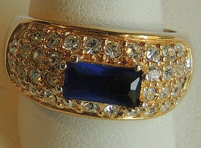Vintage Gold Plated Faceted Sapphire Crystal Rhinestone Studded Fashion Ring 6.5