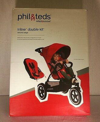 Phil & Teds Second Seat Inline Double Kit for Navigator Dark Cherry Red