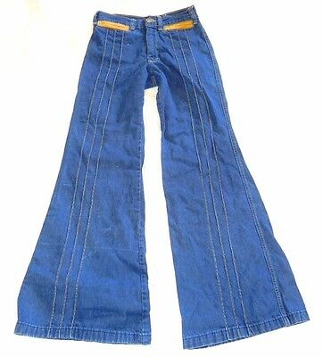"1970s AMAZING VTG Bellbottom Jeans~24 x 30""~High Waist Flare~Seamed~Blue Denim 0"