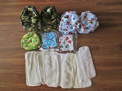 Baby Boy Cloth Diaper Starter Lot Bundle 18 Pocket Covers plus Inserts & Wet Bag