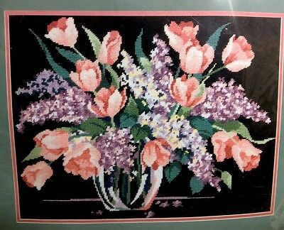 New LILACS AND TULIPS Crewel Embroidery Complete KIT