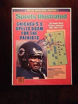 1986 Mike Singletary Chicago Bears Autographed Signed Sports Illustrated SI Mag