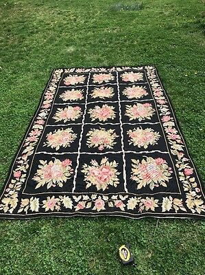 Gorgeous Black Floral Large Needlepoint Area Rug Size About 5 X 8