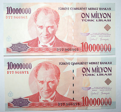 TURKEY: 2 x 10 000 000 Lira Banknotes since 1999 in UNC Condition. Close numbers