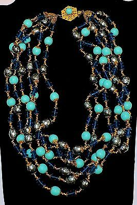 2264~Vtg Sgnd MIRIAM HASKELL Goldtone Blue Glass Gray Faux Pearl Choker Necklace