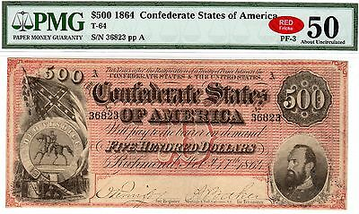 T-64 PF-3 $500 1864 Confederate Paper Money - PMG About Unc 50 - RED!!
