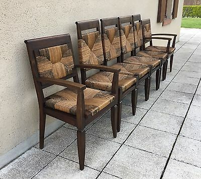 Vintage French Farmhouse Dining Chairs 6 Walnut Chairs With Rush Seats & Backs