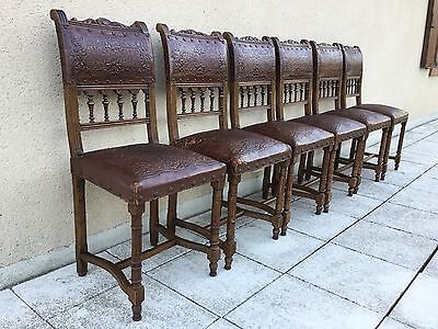 Antique French Set Of Six Dining Chairs Neo Renaissance Embossed Leather