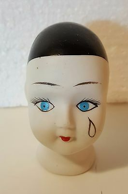 Vintage Porcelain Crying Clown Jester Doll Head