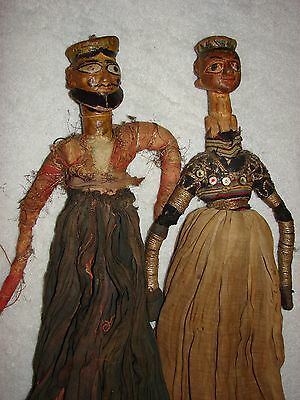 """Lot of 2 Antique Wooden DOLLS - in Vintage handmade Clothes - 22"""""""