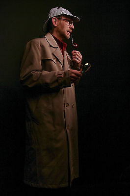 Sherlock Holmes Costume 6 pieces with Trench Coat and Hat